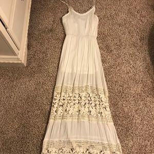 Floor length white summer dress